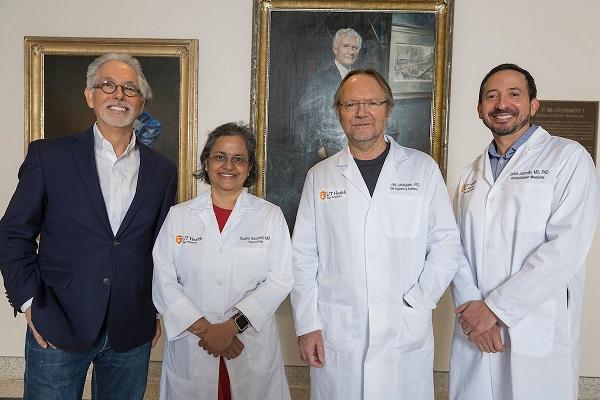 (l-r) Rick Morris; Sudha Seshadri, M.D.; James Lechleiter, Ph.D.; Carlos Jaramillo, M.D., Ph.D.