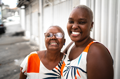 African American woman with elderly mother