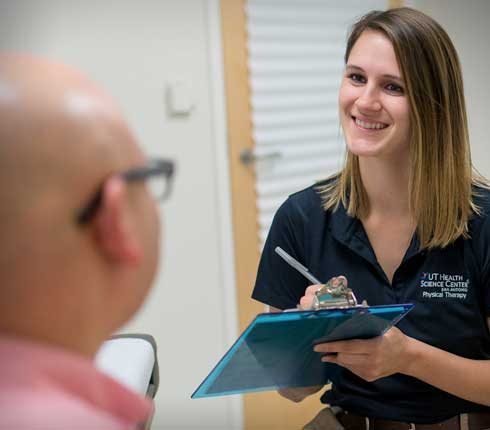 Brooke Martin physical therapy student with patient