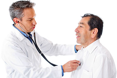 Image of doctor listening to patient's heart