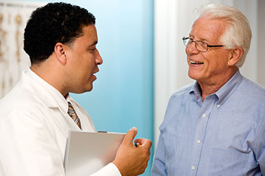 Image of patient speaking to doctor