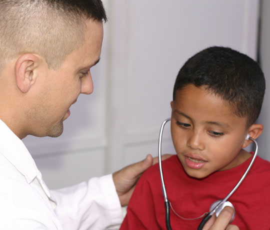 pediatric heart patient with doctor
