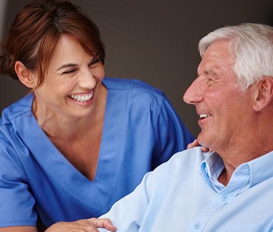 Mature man with nurse