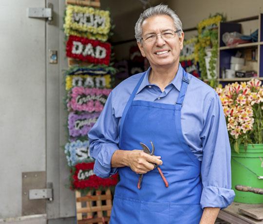 Happy man working