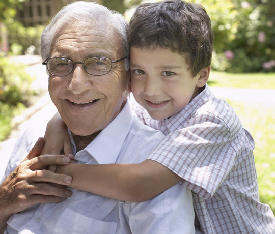 Grandfather with grandson