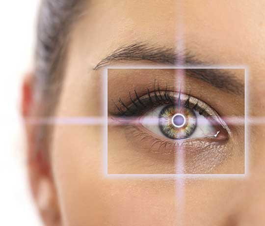 Woman's eye with laser