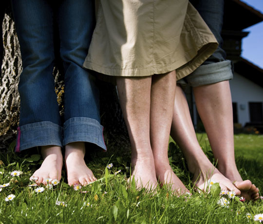 Family with happy feet