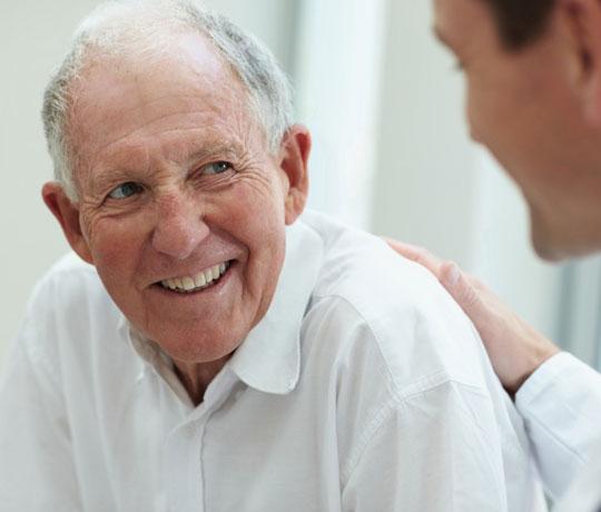 Elderly patient with doctor