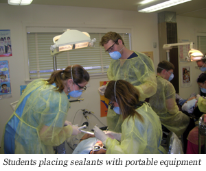 Image of Students placing sealants with portable equipment