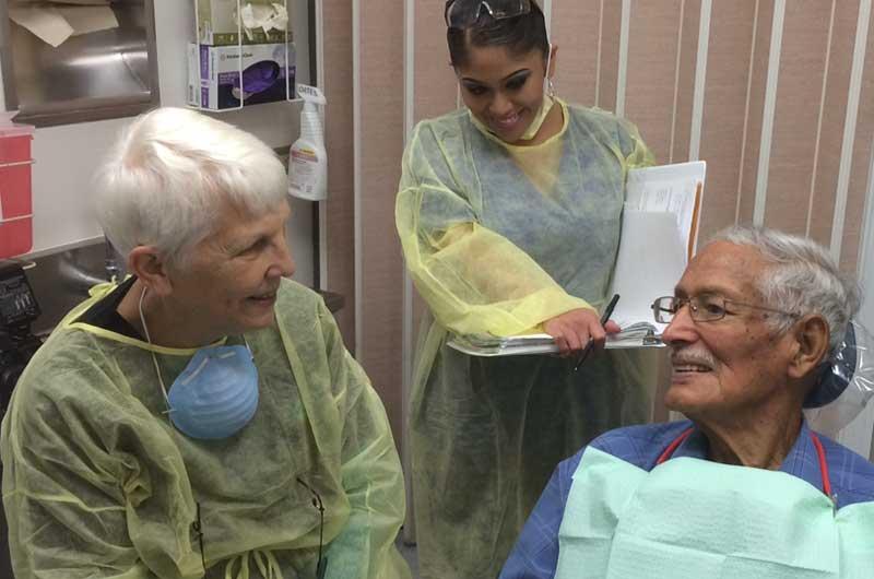 geriatric patient receiving treatment