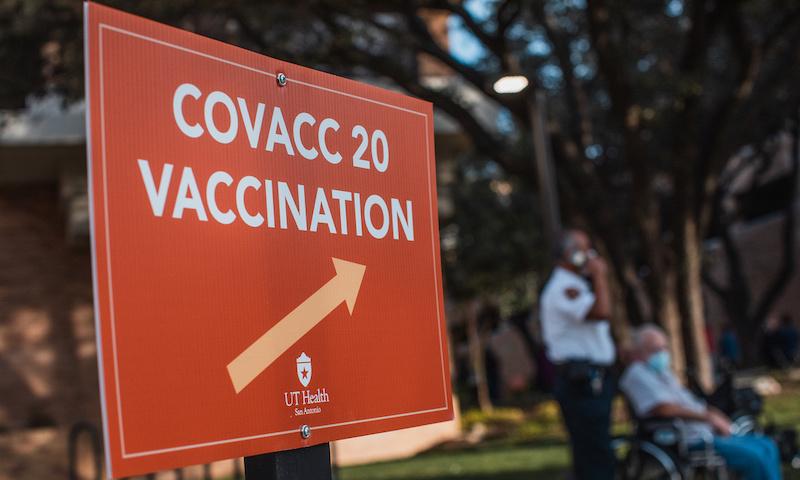 COVID Vaccination Sign at UT Health San Antonio