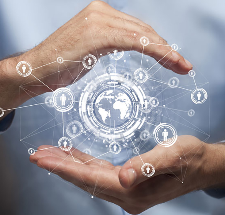 researcher holding a globe connected to partnerships