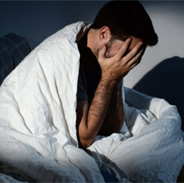 male U.S. soldier suffering from insomnia
