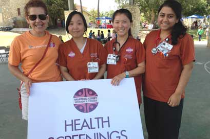 Adelita Cantu explain to young nurses the importance of eating healthy to under-served communities.