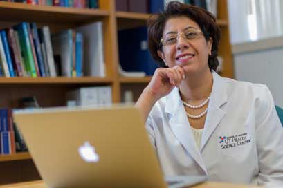 Dr. Azizeh Sowan, UT Health Science Center, San Antonio, Dr. Azizeh Sowan, UT Health Science Center San Antonio, believes in evidence-based practice in nursing, which is why she teaches her graduate school nursing students how to use infomatics to offer better patient care.