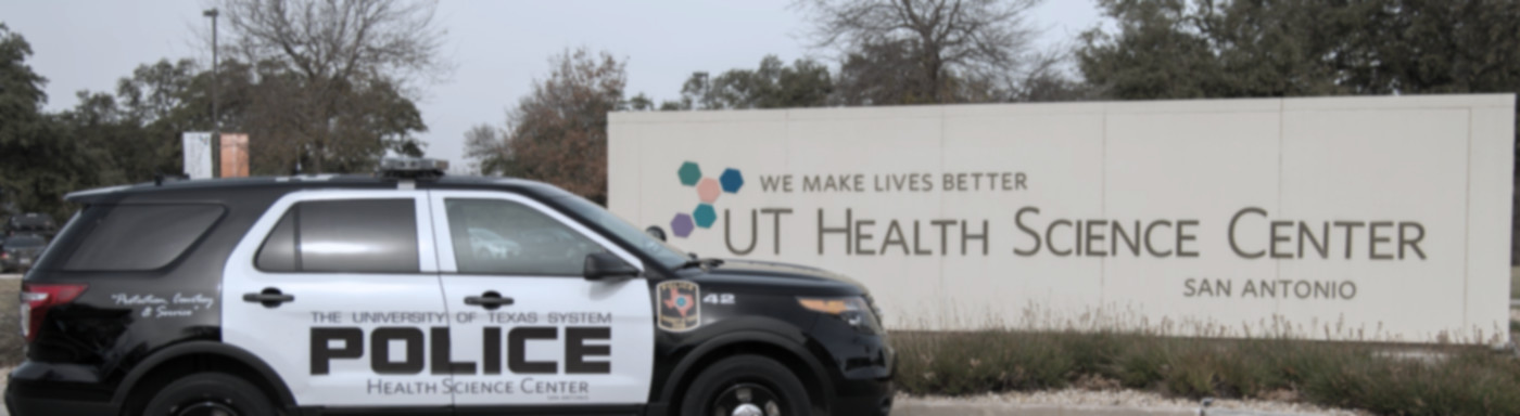UT Police Cruiser at UT Health San Antonio entrance