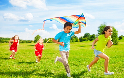 Pediatric dental patients flying kites after receiving care under sedation