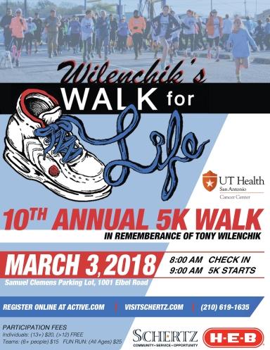 2018 Wilenchik Walk for Life Flyer