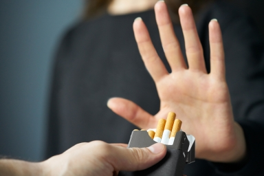 hand gesturing no to cigarettes