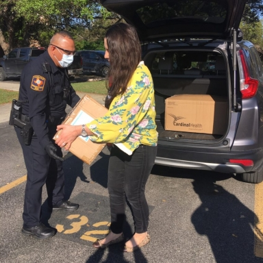 Officer receives donations