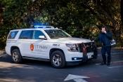 Emergency Health Sciences vehicle and Dr. CJ Winckler