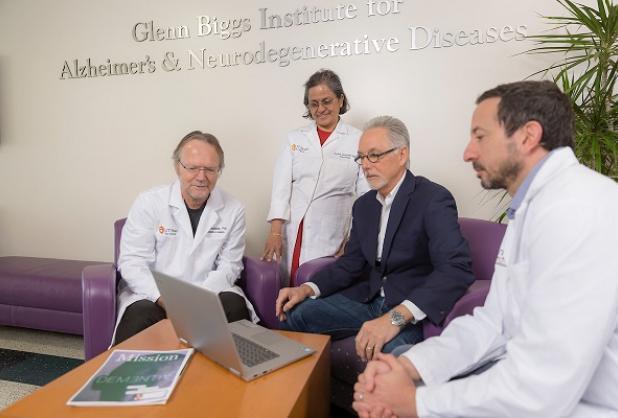 Photo of Dr. Lechleiter, Dr. Seshadri, Rick Morris, and Dr. Jaramillo