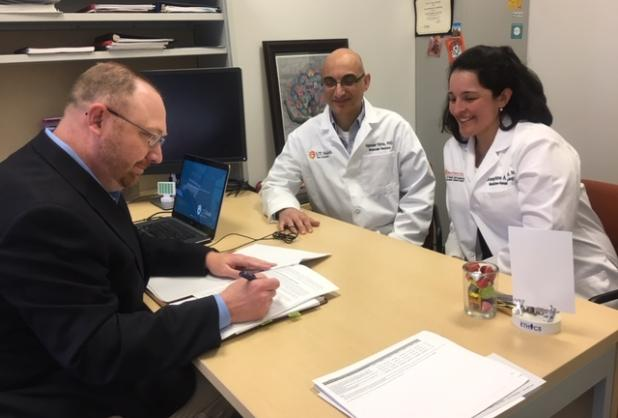 Chris Green, CPA, met with Josephine A. Taverna, M.D. and Nameer Kirma, Ph.D. to discuss the research sponsored agreement