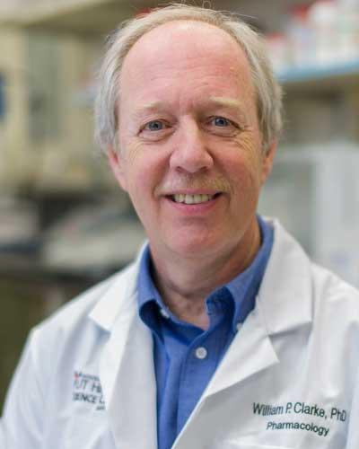 William P. Clarke, Ph.D., professor of pharmacology, is an outstanding mentor to students as he conducts biomedical research to find locally acting, safer drugs for pain relief.